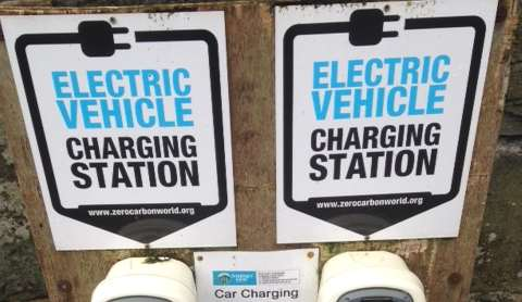 An electric vehicle charging point