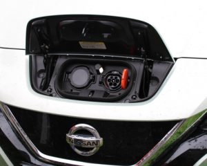 Electric car showing the charging plug
