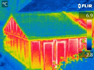 A thermal imaging survey by CAfS can spot heat loss from a building, like this one