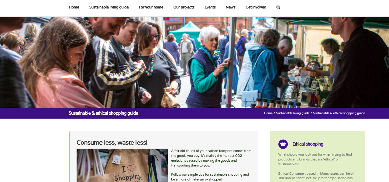 Screenshot of the sustainable shopping page of the new CAfS website