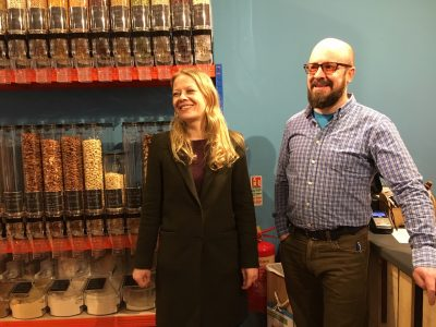 Green Party co-Leader Sian Berry with Green Party councillor Doug Lawson at Another Weigh zero waste shop in Penrith