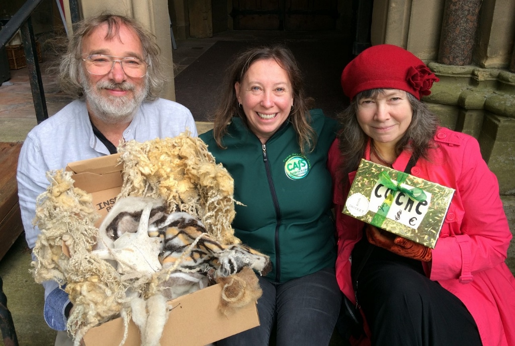 Roe Baker from CAfS (centre) with Jules Cadie and Josephine Dickinson with items submitted for the Alston ARK installation, part of the Alston Moor Greenprint project