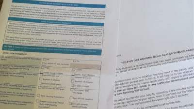 Photo showing the Alston Moor Housing Needs Survey and a letter explaining it