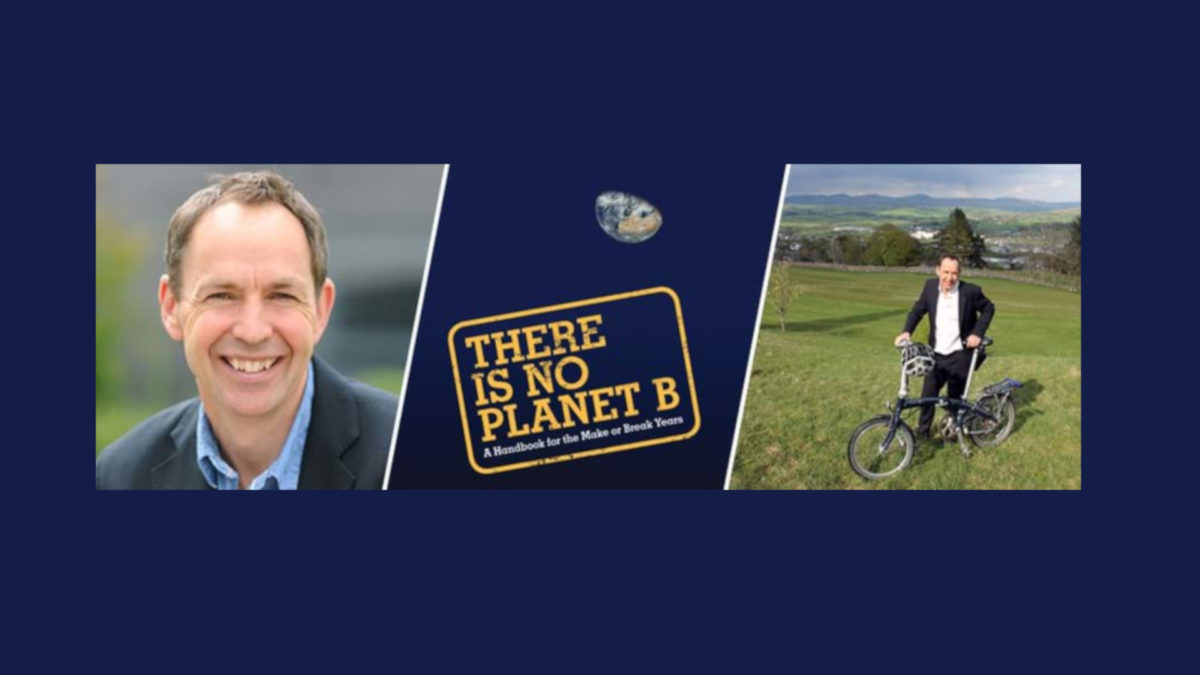 Photo of Mike Berners-Lee and cover of his new book, There Is No Planet B