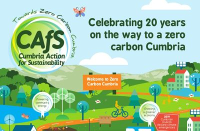 Section of cover of Celebrating 20 years on the way to a zero carbon Cumbria booklet - CAfS