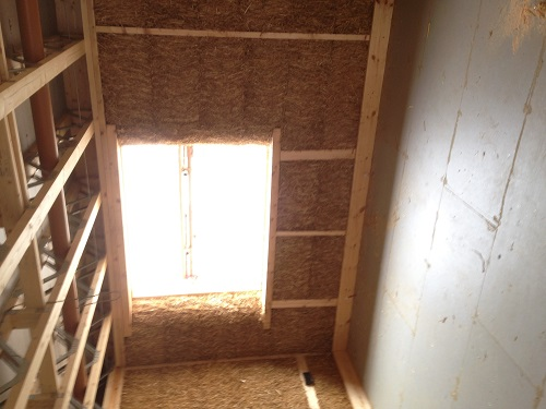 Straw bale insulation in a new-build home in Brampton