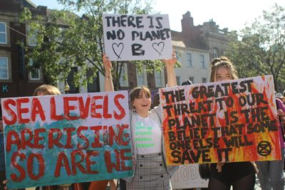 Young protestors at the Global Climate Strike in Carlisle
