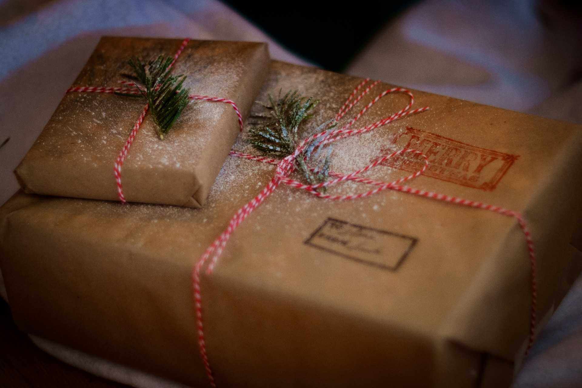 Christmas presents in brown paper