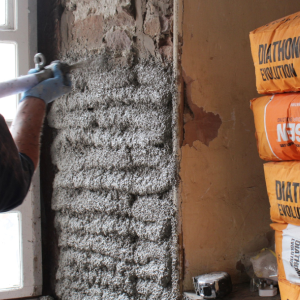 Diathonite internal insulation being applied (Ecological Building Systems)