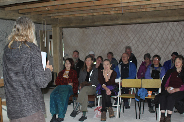 the audience at a talk at sticklebarn