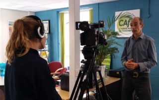 Phil Davies from CAfS being interviewed by a TV news journalist