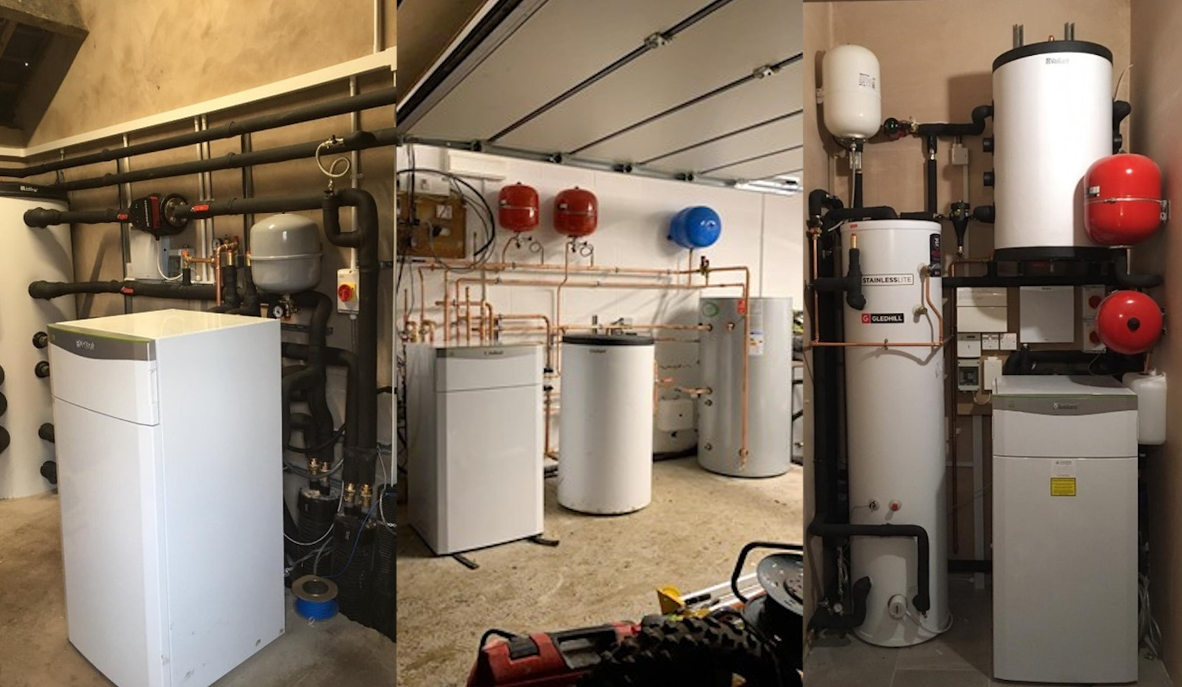 Three images of Heatpumps