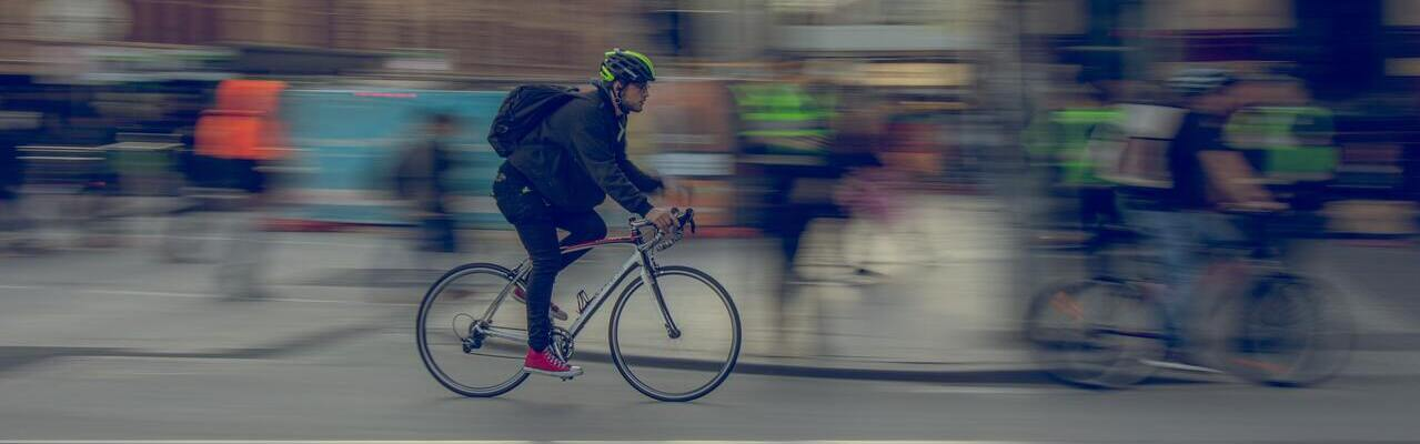 Cyclists in a city
